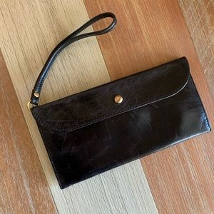 Black Leather Hobo Wristlet